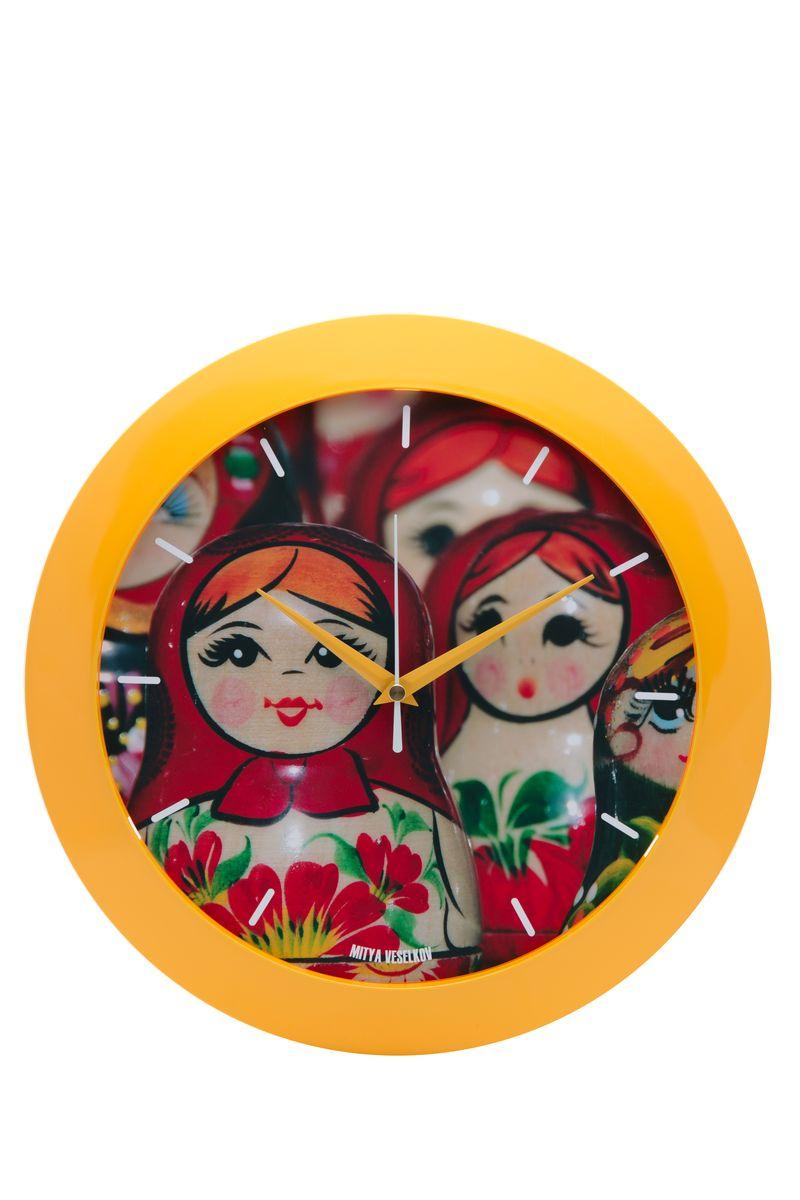 Часы настенные Mitya Veselkov Матрешки, цвет: желтый. MVC.NAST-036MVC.NAST-036