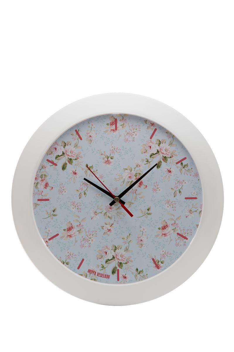 Часы настенные Mitya Veselkov Розы на голубом, цвет: белый. MVC.NAST-039MVC.NAST-039