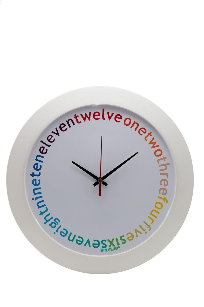 "Часы настенные Mitya Veselkov ""Eleven-twelve"", цвет: белый. MVC.NAST-043"