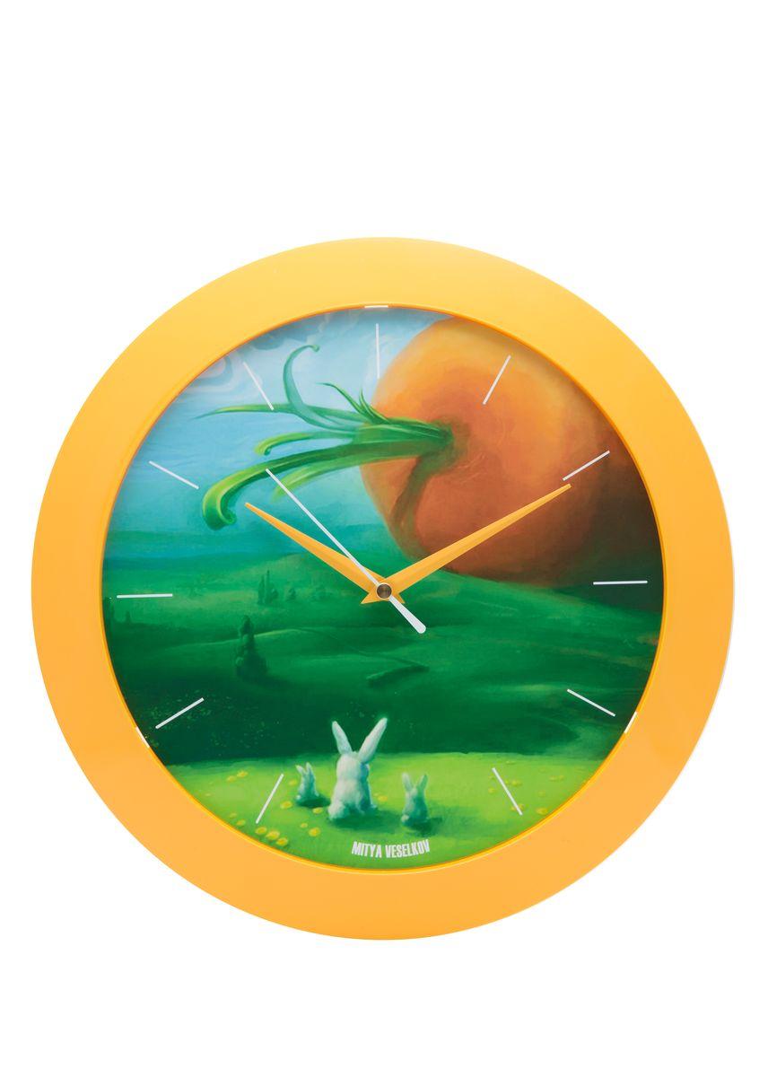 Часы настенные Mitya Veselkov Заяц и морковка, цвет: желтый. MVC.NAST-054MVC.NAST-054