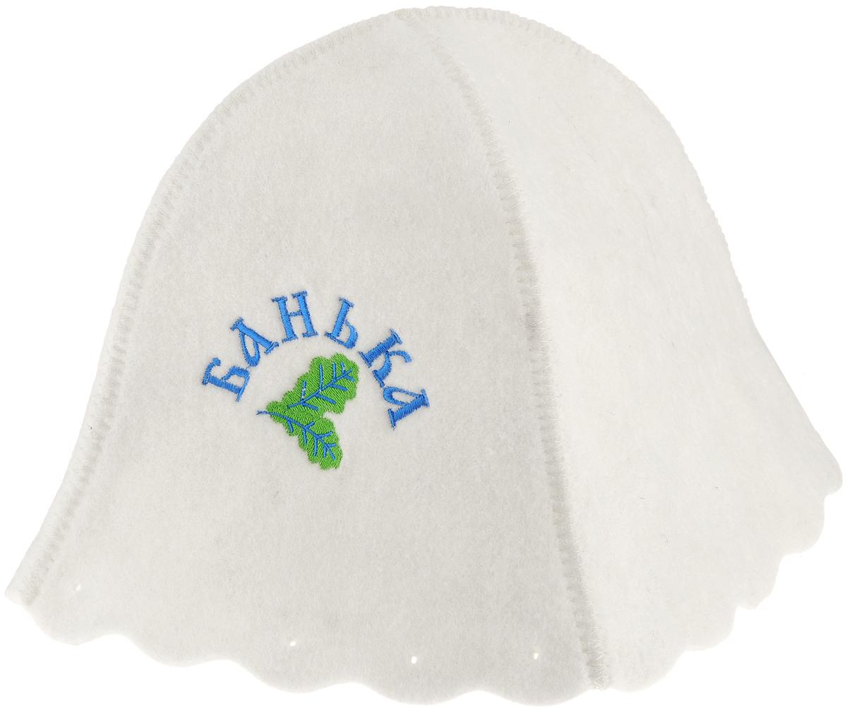 Шапка для бани и сауны Proffi Люкс. БанькаPS0043_синийБанная шапка Proffi Люкс изготовлена из высококачественного войлока и декорирована вышивкой Банька. Банная шапка - это незаменимый аксессуар для любителей попариться в русской бане и для тех, кто предпочитает сухой жар финской бани. Шапка защищает волосы от сухости и ломкости, голову от перегрева и предотвращает появление головокружения. На шапке имеется петелька, с помощью которой ее можно подвесить на крючок в предбаннике. Такая шапка станет отличным подарком для любителей отдыха в бане или сауне. Обхват головы: 81 см. Высота шапки (без учета петельки): 23 см.