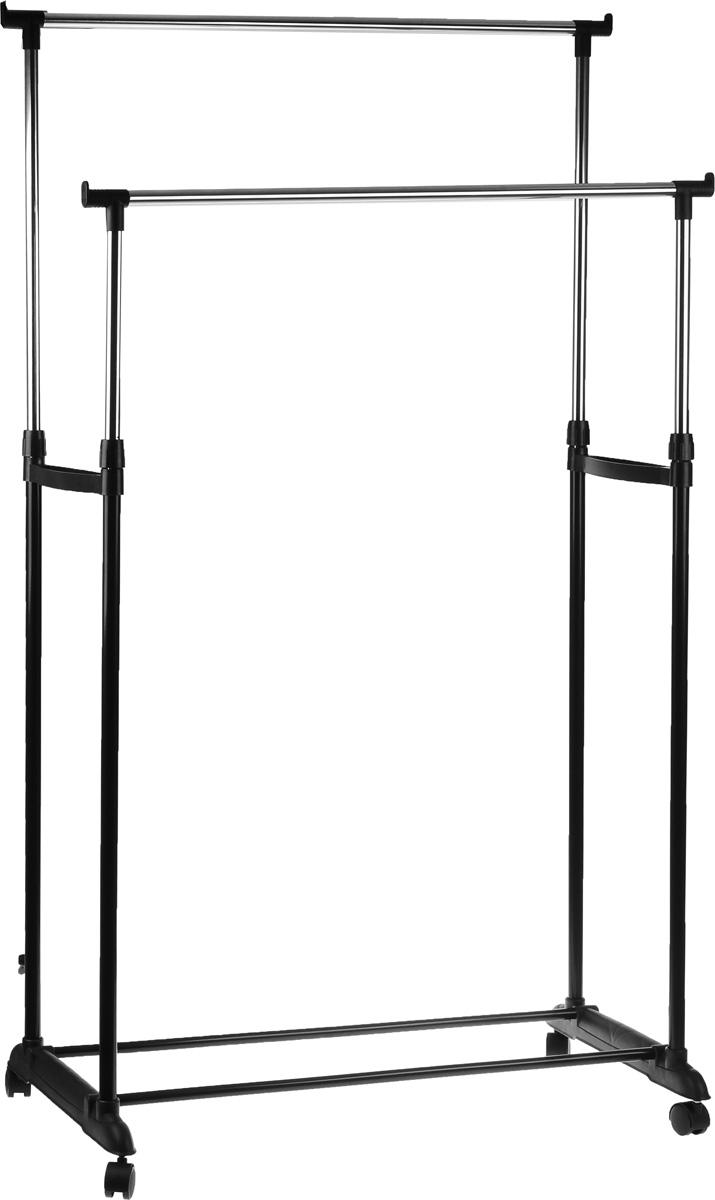 Вешалка напольная HomeMaster, телескопическая, цвет: черный, серебристый, 79 х 42 см, высота 93-160 смLD00147Напольная вешалка для одежды HomeMaster изготовлена из высокопрочной стали. Вешалка в два ряда позволит вам сэкономить полезное пространство в вашей прихожей или комнате. Высота изделия регулируется при помощи телескопической системы (от 93 см до 160 см). Наличие небольших колесиков в основании вешалки позволяет легко перемещать ее вместе с одеждой. Такая вешалка для одежды отличается практичностью и удобством в использовании.
