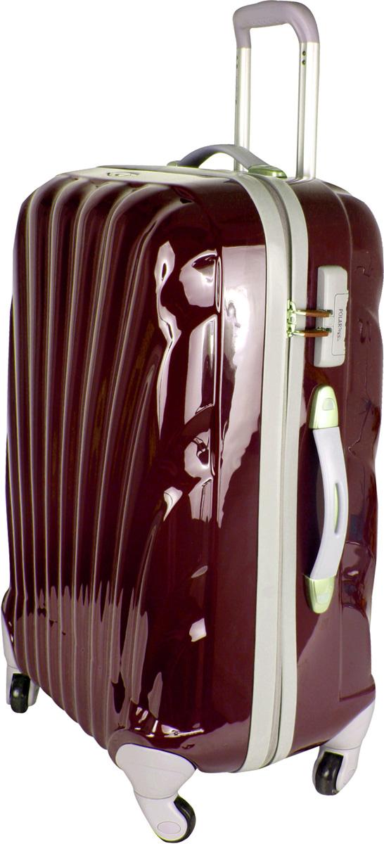 Чемодан пластиковый Polar, цвет: бордовый, 63,5 л, 42 х 58 х 26 см. Р1124(25)Р1124(25)Вес чемодана имеет большое значение после введения новых правил по авиа перевозке. Этот пластиковый чемодан весит намного меньше, чем обычные чемоданы из традиционных материалов. Материал ABS- пластик максимально устойчив к деформации. Кроме того, он обладает повышенной гибкостью, что позволяет материалу не ломаться и не трескаться при внешних нагрузках. Наши чемоданы отлично подходят для перевозки хрупких вещей. Пластик отлично защищает внутреннее содержание от любых внешних воздействий. Еще один принципиальный момент- это количество колес. Чемодан с четырьмя колесами на основании. Он более маневренный и удобный в обращении по отношению к двухколесным чемоданам. Можно просто выдвинуть ручку и катить его рядом с собой в любом направлении, при этом не будет никакой нагрузки на кисть, что очень важно, если чемодан у вас большой и тяжелый. Выдвижная ручка (выдвигается в два сложения на 52 см.), внутренняя тележка. Внутри: портплед, карман из сетки на молнии, фиксатор с зажимом для ваших...