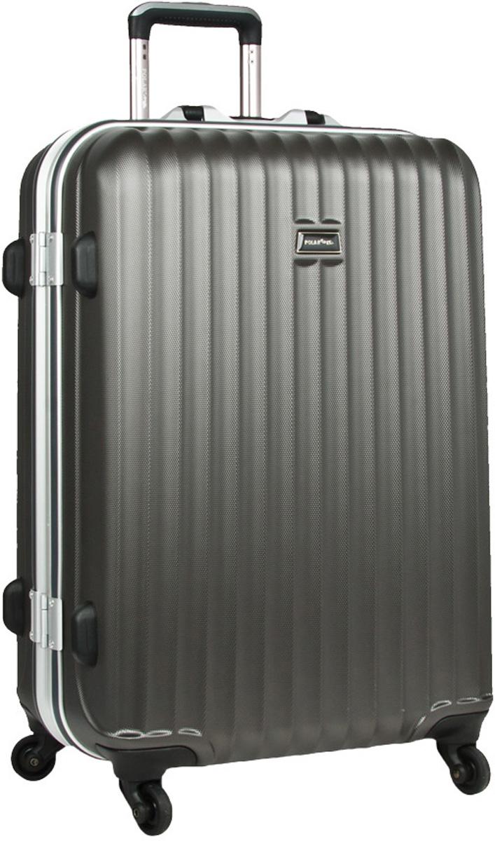 Чемодан пластиковый Polar, цвет: темно-серый, 115 л, 50 х 72 х 32 см. р1145(29)р1145(29)Материал ABS- пластик максимально устойчив к деформации. Кроме того он обладает повышенной гибкостью, что позволяет материалу не ломаться и не трескаться при внешних нагрузках. Наши чемоданы отлично подходят для перевозки хрупких вещей. Пластик отлично защищает внутреннее содержание от любых внешних воздействий. Еще один принципиальный момент- это количество колес. Чемодан с четырьмя колесиками на основании. Он более маневренный и удобный в обращении по отношению к двухколесным чемоданам. Можно просто выдвинуть ручку и катить его рядом с собой в любом направлении, при этом не будет никакой нагрузки на кисть, что очень важно, если чемодан у вас большой и тяжелый. Выдвигающаяся ручка выдвигается на 31 см. Внутри: карман из сетки на молнии, фиксатор с зажимом для ваших вещей. 4 колеса вращаются на 360 градусов. Замок с системой TSA .