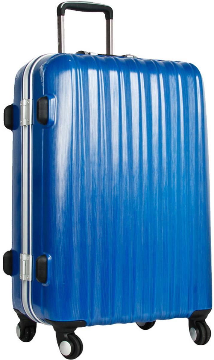 Чемодан пластиковый Polar, цвет: синий, 70,5 л, 42 х 60 х 28 см. Р1155(25)Р1155(25)Материал ABS- пластик максимально устойчив к деформации. Кроме того он обладает повышенной гибкостью, что позволяет материалу не ломаться и не трескаться при внешних нагрузках. Наши чемоданы отлично подходят для перевозки хрупких вещей. Пластик отлично защищает внутреннее содержание от любых внешних воздействий. Еще один принципиальный момент- это количество колес. Чемодан с четырьмя колесиками на основании. Он более маневренный и удобный в обращении по отношению к двухколесным чемоданам. Можно просто выдвинуть ручку и катить его рядом с собой в любом направлении, при этом не будет никакой нагрузки на кисть, что очень важно, если чемодан у вас большой и тяжелый. Выдвигающаяся ручка выдвигается на 40 см. Внутри: карман из сетки на молнии, фиксатор с зажимом для ваших вещей. 4 колеса вращаются на 360 градусов. Кодовый замок с системой TSA.