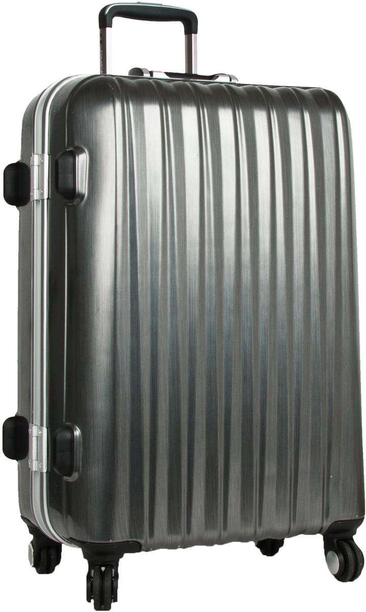 Чемодан пластиковый Polar, цвет: темно-серый, 70,5 л, 42 х 60 х 28 см. Р1155(25)Р1155(25)Материал ABS- пластик максимально устойчив к деформации. Кроме того он обладает повышенной гибкостью, что позволяет материалу не ломаться и не трескаться при внешних нагрузках. Наши чемоданы отлично подходят для перевозки хрупких вещей. Пластик отлично защищает внутреннее содержание от любых внешних воздействий. Еще один принципиальный момент- это количество колес. Чемодан с четырьмя колесиками на основании. Он более маневренный и удобный в обращении по отношению к двухколесным чемоданам. Можно просто выдвинуть ручку и катить его рядом с собой в любом направлении, при этом не будет никакой нагрузки на кисть, что очень важно, если чемодан у вас большой и тяжелый. Выдвигающаяся ручка выдвигается на 40 см. Внутри: карман из сетки на молнии, фиксатор с зажимом для ваших вещей. 4 колеса вращаются на 360 градусов. Кодовый замок с системой TSA.