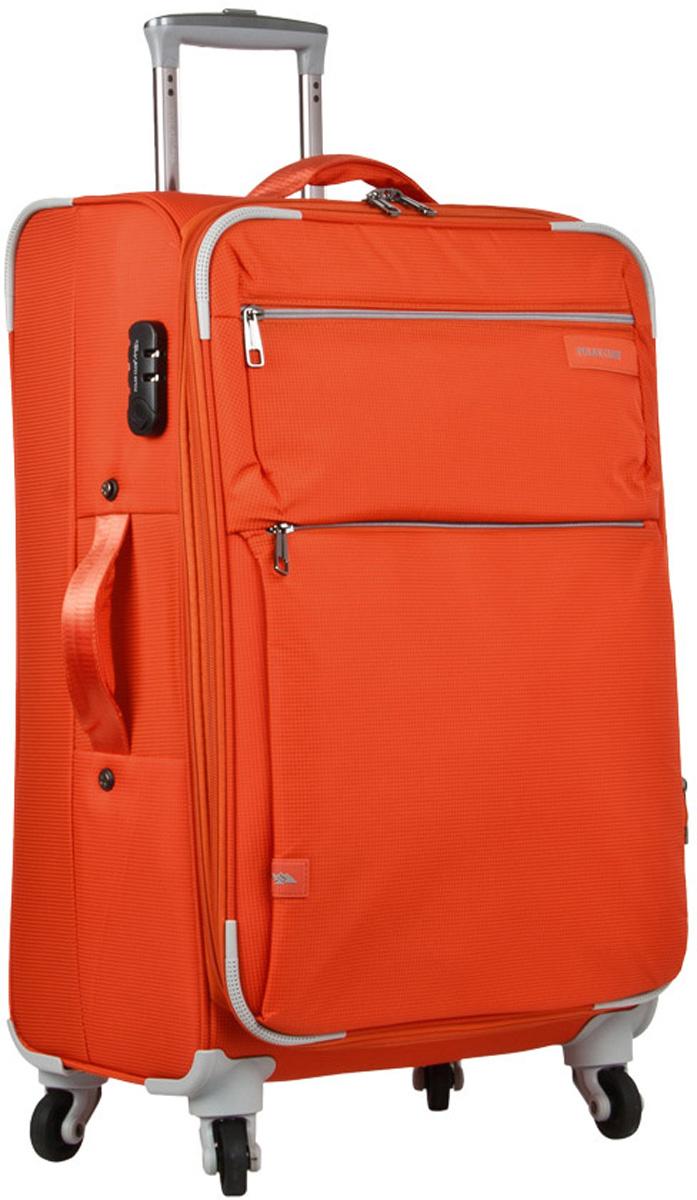 Чемодан мягкий Polar, цвет: оранжевый, 88 л, 46 х 71 х 27 см. Р1891(28)Р1891(28)Чемодан фирмы Polar. Внутри чемодана имеются фиксирующие ремни и два дополнительных кармана на молнии. Также основное отделение можно увеличить в объеме, расстегнув молнию, при этом чемодан увеличивается в глубину на 5 см. Ручка выдвигается в два сложения на 28 см, расположена внутри корпуса чемодана, что способствует большей прочности и защите от ударов при разгрузке/погрузке чемодана. Снаружи на передней стенке — два больших кармана на молнии. Надежные четыре колеса на подшипниках, вращаются на 360° градусов. В комплекте идет кодовый замок.