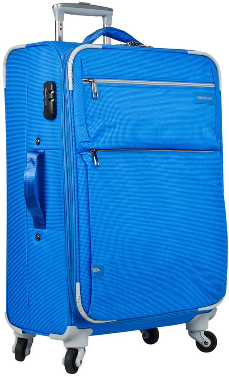 Чемодан мягкий Polar, цвет: синий, 55 л, 40 х 60 х 23 см. Р1891(24)Р1891(24)Чемодан фирмы Polar. Внутри чемодана имеются фиксирующие ремни и два дополнительных кармана на молнии. Также основное отделение можно увеличить в объеме, расстегнув молнию, при этом чемодан увеличивается в глубину на 5 см. Ручка выдвигается в два сложения на 39 см, расположена внутри корпуса чемодана, что способствует большей прочности и защите от ударов при разгрузке/погрузке чемодана. Снаружи на передней стенке — два больших кармана на молнии. Надежные четыре колеса на подшипниках, вращаются на 360° градусов. В комплекте идет кодовый замок.