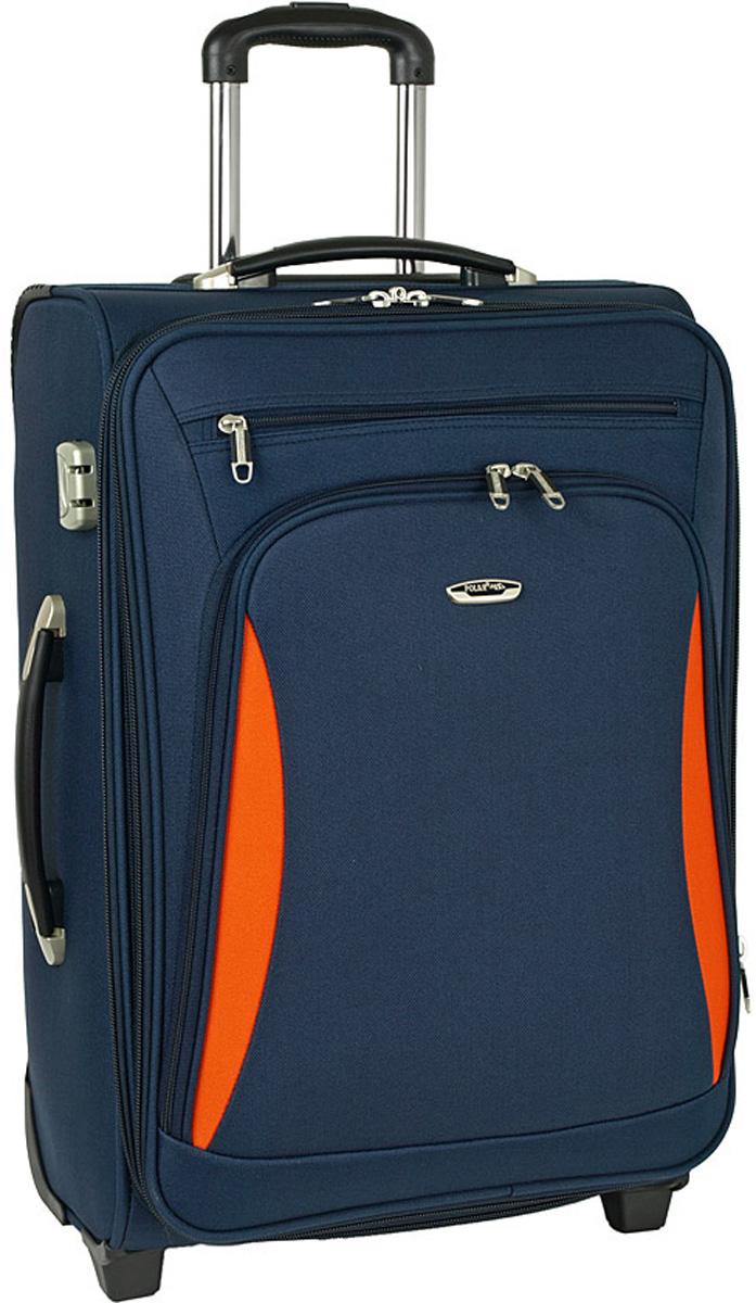 Чемодан мягкий Polar, цвет: синий, оранжевый, 69 л, 41 x 62 x 27 см. Р8005(24)Р8005(24)Купите чемодан на колесах большого диаметра (9 см). Очень вместительный чемодан на колесах с увеличением фирмы Polar. Материал – полиэстер. Прорезиненные колеса на подшипниках (2 шт.), выдвижная ручка (выдвигается в два сложения). Тележка находится внутри корпуса чемодана, что делает ее очень защищенной от ударов при погрузке/разгрузке чемодана. Дополнительно две ручки (одна сверху, другая с боку) для переноса чемодана в руках. Внутри: портплед, карман из сетки на молнии, фиксатор с зажимом для ваших вещей. Снаружи: вместительный карман на молнии с внутренней стороны и 2 кармана на молнии с дополнительным отделением с внешней стороны. Также предусмотрен кодовый замок и визитница. Этот чемодан на колесах позволит Вам взять с собой все самое необходимое.