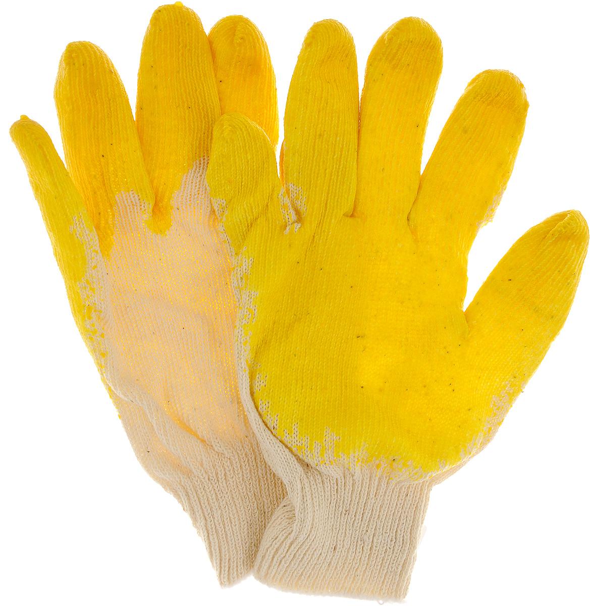 Перчатки хозяйственные РОС, с латексной заливкой наладонника, цвет: желтый, белый, 22 х 12 х 1,5 см12470_желтый, белыйХозяйственные перчатки РОС предназначены для строительных и погрузочно-разгрузочных работ. Изготовлены из 100% хлопка, что обеспечивает естественный воздухообмен. Ладонная часть усилена слоем латекса увеличенной толщины для дополнительной защиты рук, а рельефная поверхность увеличивает сцепные свойства и позволяет крепко удерживать инструмент и различные предметы во время работы. Перчатки устойчивы к истиранию и имеют долгий срок эксплуатации.