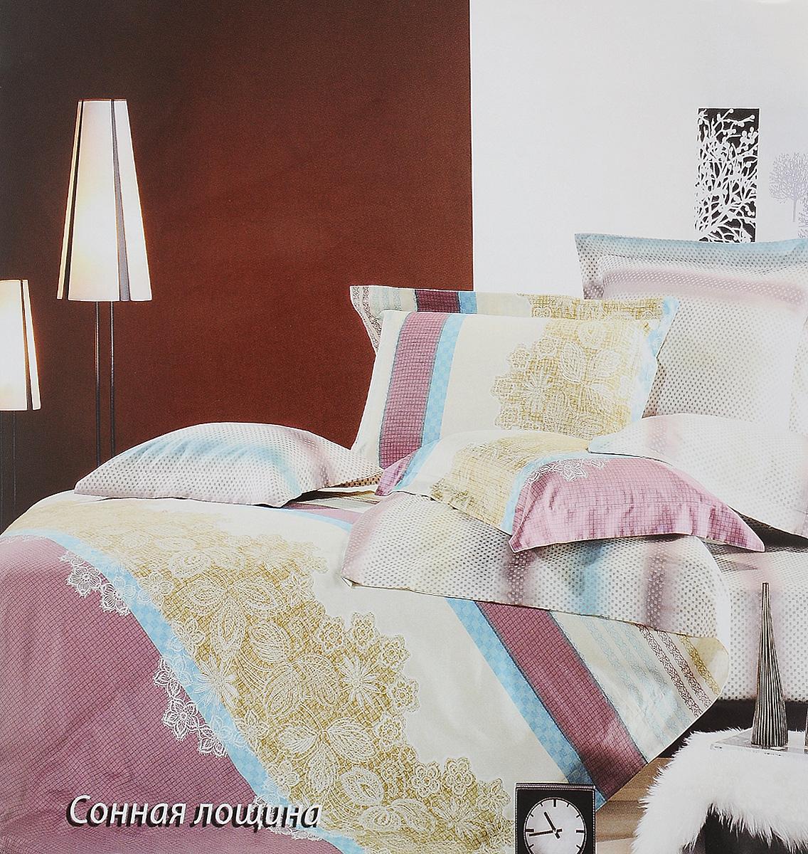 Комплект белья Tiffanys Secret Сонная лощина, евро, наволочки 50х70, цвет: бежевый, сиреневый, голубой2040816519Комплект постельного белья Tiffanys Secret Сонная лощина является экологически безопасным для всей семьи, так как выполнен из сатина (100% хлопок). Комплект состоит из пододеяльника, простыни и двух наволочек. Предметы комплекта оформлены оригинальным рисунком. Благодаря такому комплекту постельного белья вы сможете создать атмосферу уюта и комфорта в вашей спальне. Сатин - это ткань, навсегда покорившая сердца человечества. Ценившие роскошь персы называли ее атлас, а искушенные в прекрасном французы - сатин. Секрет высококачественного сатина в безупречности всего технологического процесса. Эту благородную ткань делают только из отборной натуральной пряжи, которую получают из самого лучшего тонковолокнистого хлопка. Благодаря использованию самой тонкой хлопковой нити получается необычайно мягкое и нежное полотно. Сатиновое постельное белье превращает жаркие летние ночи в прохладные и освежающие, а холодные зимние - в теплые и согревающие. ...