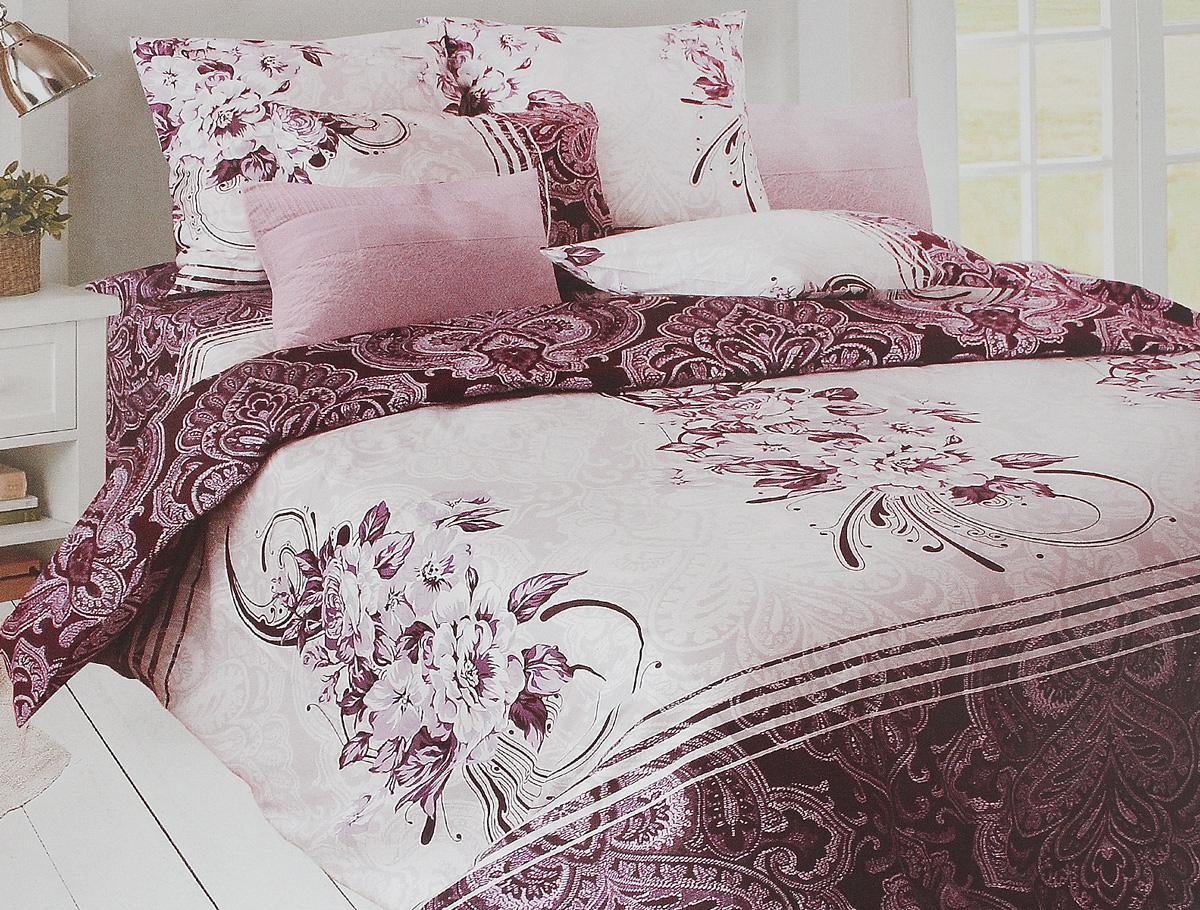 Комплект белья Tiffanys Secret Дикая слива, 1,5-спальный, наволочки 50х70, цвет: сливовый, белый, серый2040115957Комплект постельного белья Tiffanys Secret Дикая слива является экологически безопасным для всей семьи, так как выполнен из сатина (100% хлопок). Комплект состоит из пододеяльника, простыни и двух наволочек. Предметы комплекта оформлены оригинальным рисунком. Благодаря такому комплекту постельного белья вы сможете создать атмосферу уюта и комфорта в вашей спальне. Сатин - это ткань, навсегда покорившая сердца человечества. Ценившие роскошь персы называли ее атлас, а искушенные в прекрасном французы - сатин. Секрет высококачественного сатина в безупречности всего технологического процесса. Эту благородную ткань делают только из отборной натуральной пряжи, которую получают из самого лучшего тонковолокнистого хлопка. Благодаря использованию самой тонкой хлопковой нити получается необычайно мягкое и нежное полотно. Сатиновое постельное белье превращает жаркие летние ночи в прохладные и освежающие, а холодные зимние - в теплые и согревающие. ...