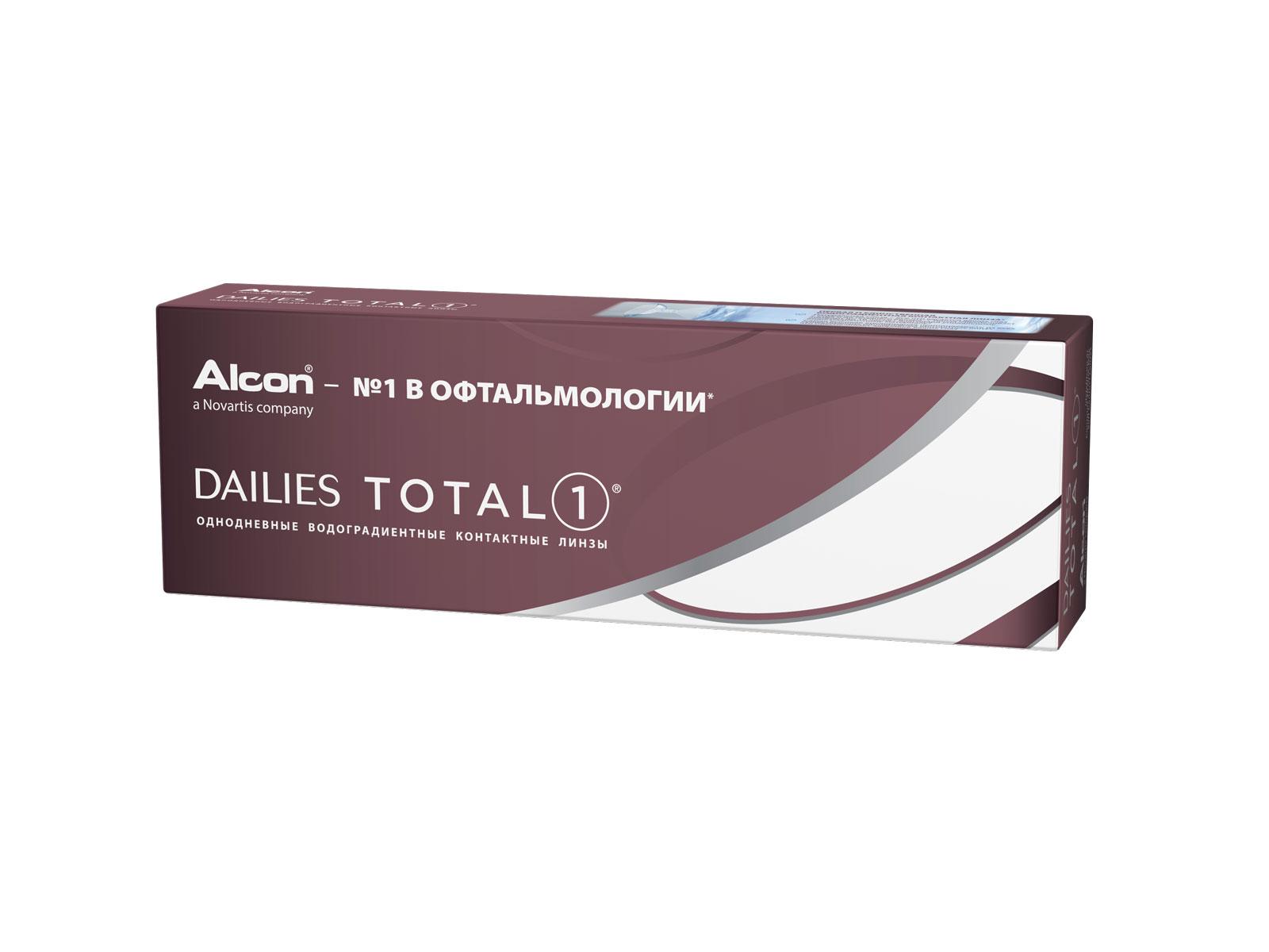 Alcon контактные линзы Dailies Total 1 30pk /-2.50 / 8.5 / 14.1100031464Dailies Total 1 – линзы, которые не чувствуешь с утра и до поздного вечера. Эти однодневные контактные линзы выполнены из уникального водоградиентного материала, багодаря которому натуральная слеза – это все, что касается ваших глаз. Почти 100% влаги на поверхности обеспечивают непревзойденный комфорт до 16 часов ношения.