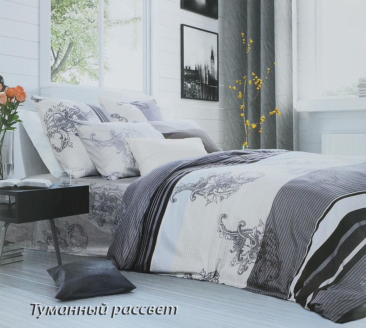 Комплект белья Tiffanys Secret Туманный рассвет, евро, наволочки 50х70, цвет: серый, белый2040115978Комплект постельного белья Tiffanys Secret Туманный рассвет является экологически безопасным для всей семьи, так как выполнен из сатина (100% хлопок). Комплект состоит из пододеяльника, простыни и двух наволочек. Предметы комплекта оформлены оригинальным рисунком. Благодаря такому комплекту постельного белья вы сможете создать атмосферу уюта и комфорта в вашей спальне. Сатин - это ткань, навсегда покорившая сердца человечества. Ценившие роскошь персы называли ее атлас, а искушенные в прекрасном французы - сатин. Секрет высококачественного сатина в безупречности всего технологического процесса. Эту благородную ткань делают только из отборной натуральной пряжи, которую получают из самого лучшего тонковолокнистого хлопка. Благодаря использованию самой тонкой хлопковой нити получается необычайно мягкое и нежное полотно. Сатиновое постельное белье превращает жаркие летние ночи в прохладные и освежающие, а холодные зимние - в теплые и согревающие. ...