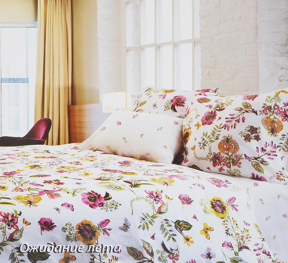 Комплект белья Tiffanys Secret Ожидание лета, евро, наволочки 50х70, цвет: белый, розовый, желтый2040816126Комплект постельного белья Tiffanys Secret Ожидание лета является экологически безопасным для всей семьи, так как выполнен из сатина (100% хлопок). Комплект состоит из пододеяльника, простыни и двух наволочек. Предметы комплекта оформлены оригинальным рисунком. Благодаря такому комплекту постельного белья вы сможете создать атмосферу уюта и комфорта в вашей спальне. Сатин - это ткань, навсегда покорившая сердца человечества. Ценившие роскошь персы называли ее атлас, а искушенные в прекрасном французы - сатин. Секрет высококачественного сатина в безупречности всего технологического процесса. Эту благородную ткань делают только из отборной натуральной пряжи, которую получают из самого лучшего тонковолокнистого хлопка. Благодаря использованию самой тонкой хлопковой нити получается необычайно мягкое и нежное полотно. Сатиновое постельное белье превращает жаркие летние ночи в прохладные и освежающие, а холодные зимние - в теплые и согревающие. ...