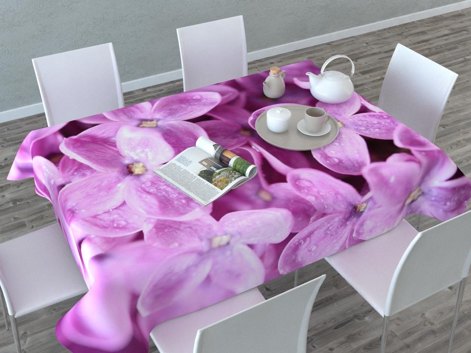 Скатерть Сирень Цветущая сирень, прямоугольная, 145 x 120 см02936-СК-ГБ-003Прямоугольная скатерть Цветущая сирень с ярким и объемным рисунком, выполненная из габардина, преобразит вашу кухню, визуально расширит пространство, создаст атмосферу радости и комфорта. Рекомендации по уходу: стирка при 30 градусах, гладить при температуре до 110 градусов. Изображение может немного отличаться от реального.