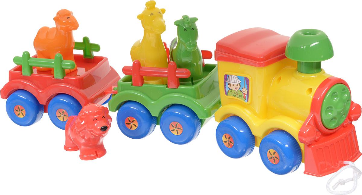 Simba Игрушка-каталка Паровозик с животными4017444Игрушка-каталка Simba Паровозик с животными - настоящая находка для тех родителей, которые хотят занять малыша надолго. Яркие детали непременно привлекут внимание малыша. Игрушечный поезд можно разобрать и покатать паровоз и вагоны по отдельности, а можно сцепить их вместе и катать за веревочку. Вагончики могут сцепляться в любом порядке, это позволяет менять внешний вид игрушки и делать ее новой и интересной долгое время. Зверушки вынимаются из вагончиков и могут быть использованы в качестве отдельных игрушек.