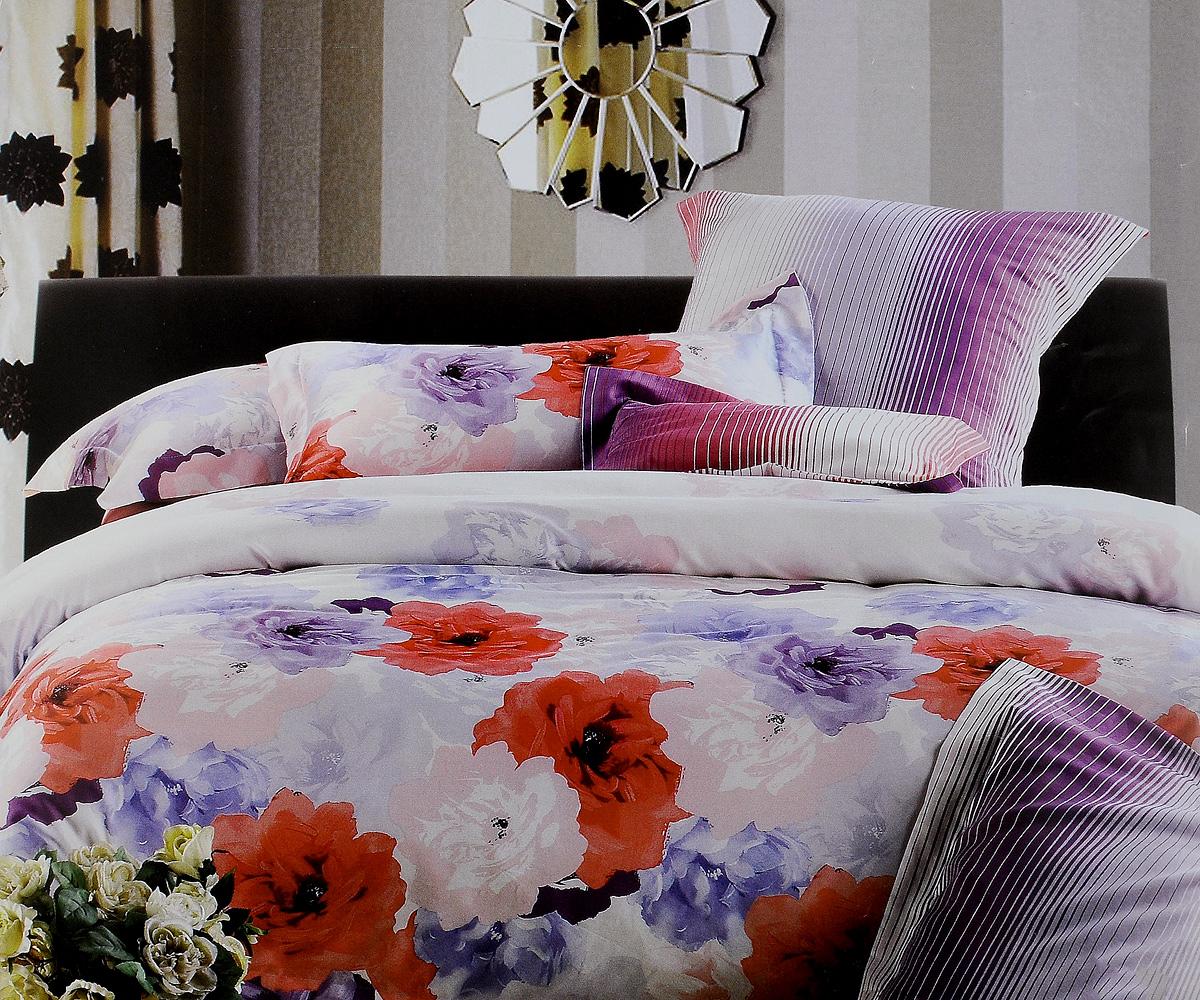 Комплект белья Tiffanys Secret Букет, евро, наволочки 70х70, цвет: белый, розовый, фиолетовый204111204Комплект постельного белья Tiffanys Secret Букет является экологически безопасным для всей семьи, так как выполнен из сатина (100% хлопок). Комплект состоит из пододеяльника, простыни и двух наволочек. Предметы комплекта оформлены оригинальным рисунком. Благодаря такому комплекту постельного белья вы сможете создать атмосферу уюта и комфорта в вашей спальне. Сатин - это ткань, навсегда покорившая сердца человечества. Ценившие роскошь персы называли ее атлас, а искушенные в прекрасном французы - сатин. Секрет высококачественного сатина в безупречности всего технологического процесса. Эту благородную ткань делают только из отборной натуральной пряжи, которую получают из самого лучшего тонковолокнистого хлопка. Благодаря использованию самой тонкой хлопковой нити получается необычайно мягкое и нежное полотно. Сатиновое постельное белье превращает жаркие летние ночи в прохладные и освежающие, а холодные зимние - в теплые и согревающие. ...