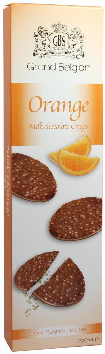 GBS Медальоны хрустящие из молочного шоколада с ароматом апельсина, 75 г7.14.24Экзотический и дерзкий вкус сочного солнечного апельсина вливается в тонкую композицию безупречного молочного шоколада. Аппетитные хрустящие медальоны дарят сладостную негу романтичным сладкоежкам и истинным ценителям утонченных десертов.
