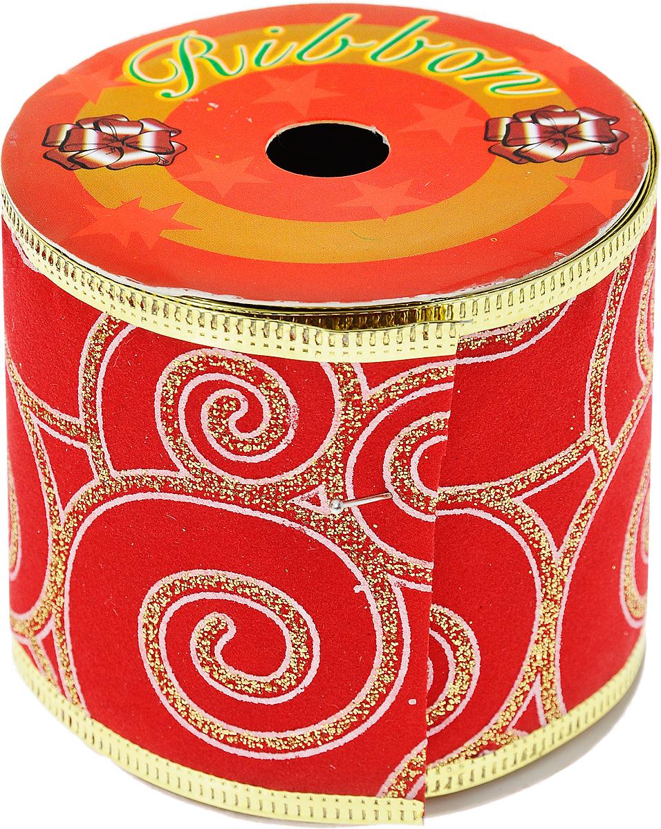 Декоративная лента Феникс-презент, цвет: красный, 2,7 м. 3539235392Декоративная лента Феникс-презент выполнена из полиэстера и декорирована оригинальным узором и блестками. В края ленты вставлена проволока, благодаря чему ее легко фиксировать. Лента предназначена для оформления подарочных коробок, пакетов. Кроме того, декоративная лента с успехом применяется для художественного оформления витрин, праздничного оформления помещений, изготовления искусственных цветов. Декоративная лента украсит интерьер вашего дома к любым праздникам. Ширина ленты: 6,3 см.