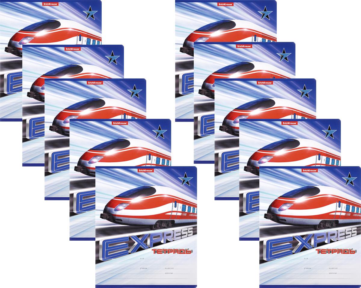 Erich Krause Набор тетрадей Express Train 18 листов в линейку 10 шт цвет красный белый40110_красно/белыйНабор тетрадей Erich Krause Express Train предназначен для младших школьников. Обложка каждой тетради выполнена из плотного картона с закругленными углами и оформлена динамичным изображением поезда. На обратной стороне обложки имеется справочная информация (русский и английский прописные алфавиты). Внутренний блок состоит из 18 листов белой бумаги в линейку с красными полями. В наборе 10 тетрадей.