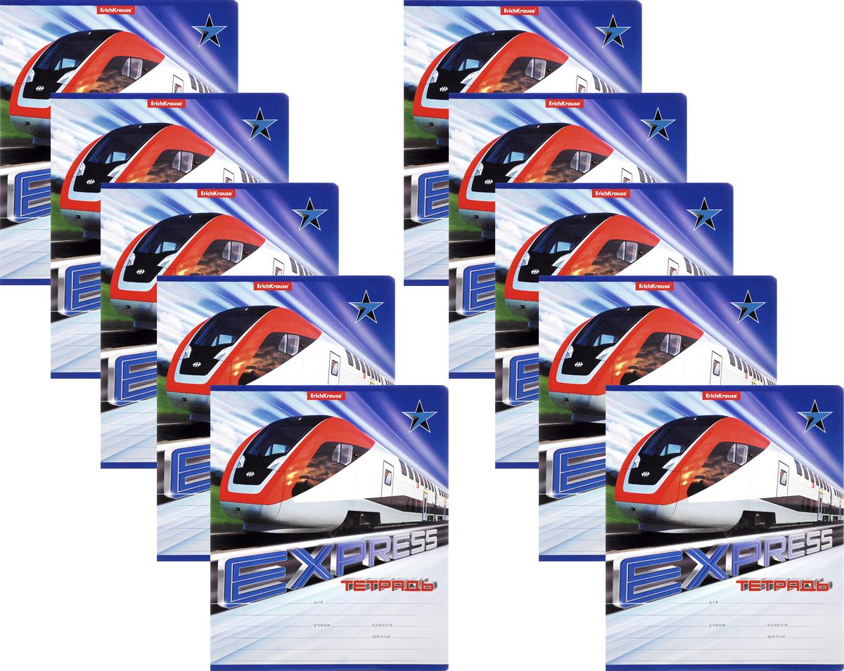 Erich Krause Набор тетрадей Express Train 18 листов в линейку 10 шт40110_красно /белый2Набор тетрадей Erich Krause Express Train предназначен для младших школьников. Обложка каждой тетради выполнена из плотного картона с закругленными углами и оформлена динамичным изображением поезда. На обратной стороне обложки имеется справочная информация (русский и английский прописные алфавиты). Внутренний блок состоит из 18 листов белой бумаги в линейку с красными полями. В наборе 10 тетрадей.