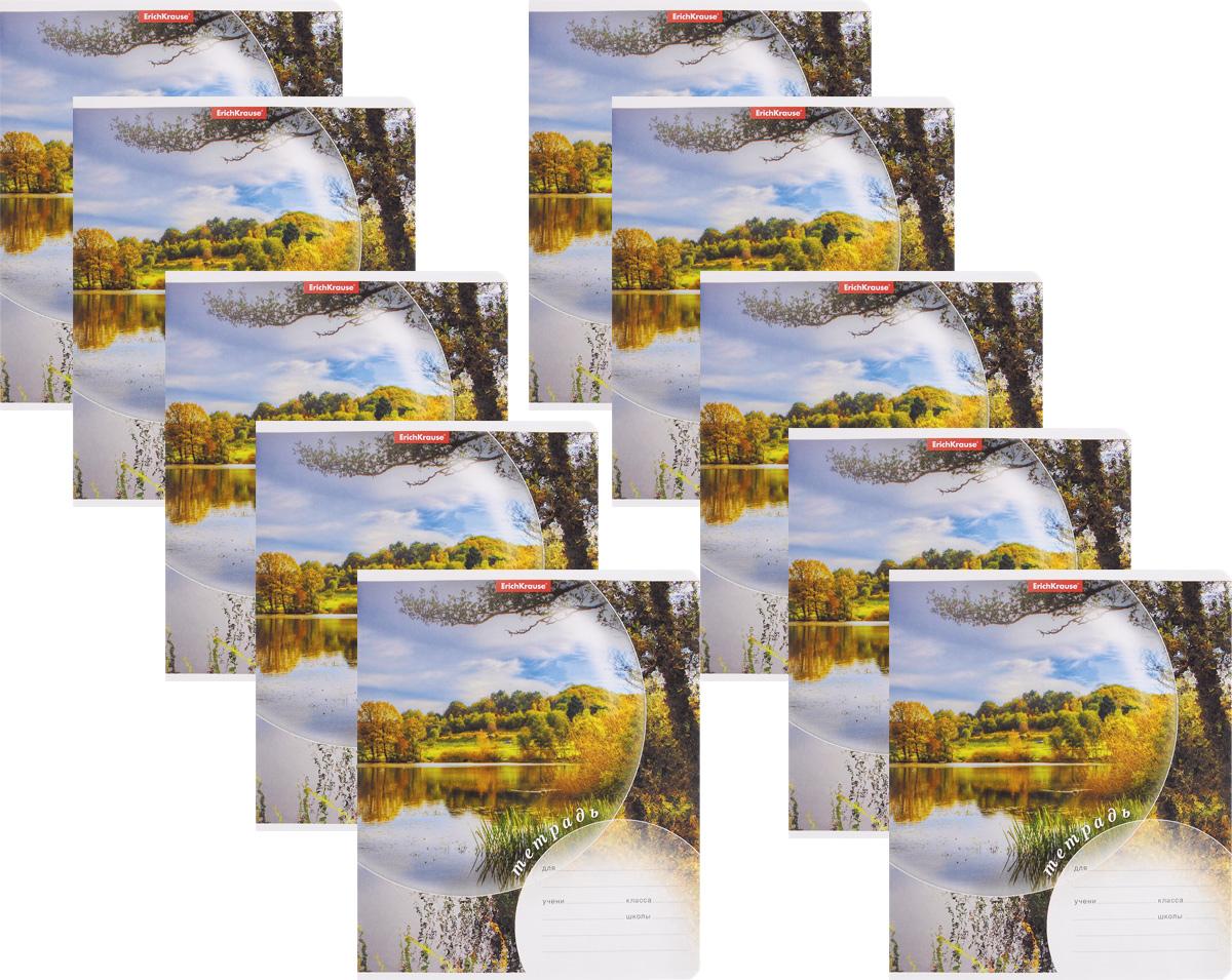 Erich Krause Набор тетрадей Магия природы Лето 24 листа в линейку 10 шт40046_летоНабор тетрадей Erich Krause Магия природы Лето предназначен для младших школьников. Обложка каждой тетради выполнена из плотного картона с закругленными углами и оформлена изображением летнего пейзажа. На обратной стороне обложки имеется справочная информация (русский и английский прописные алфавиты). Внутренний блок тетрадей состоит из 24 листов белой бумаги в линейку с красными полями. В наборе 10 тетрадей.