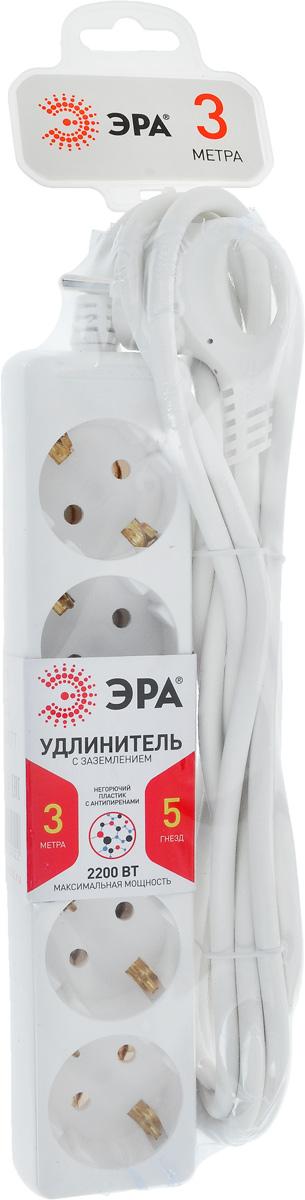 Удлинитель ЭРА U-5e-3m, с заземлением, 5 гнезд, 3 м