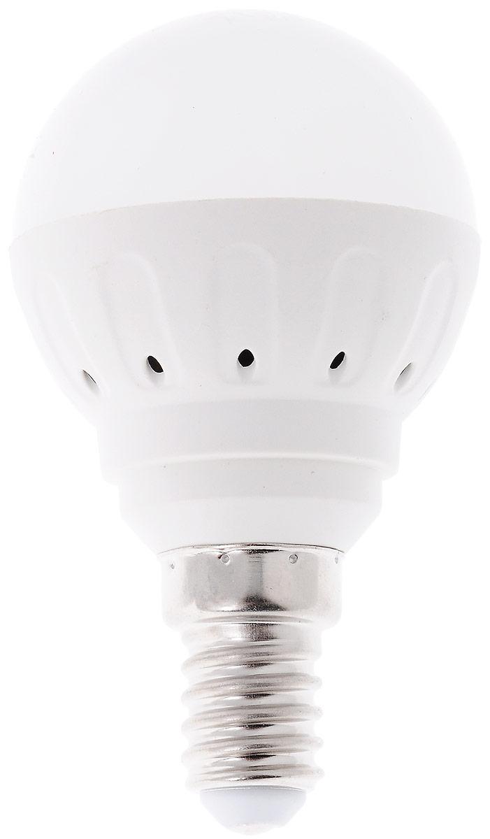 Светодиодная лампа Космос, белый свет, цоколь E14, 5WLksm_LED5wGL45E1445Светодиодная лампа Космос отличается низким энергопотреблением. Срок службы лампы 30000 часов, это в 30 раз дольше, чем у лампы накаливания. Устойчива к вибрациям и высоким перепадам температур. Обладает высокой механической прочностью и вибростойкостью. Характеризуется отсутствием ультрафиолетового и инфракрасного излучений. Эквивалентна лампе накаливания мощностью 60 Вт. Светит рассеянным светом как обычная лампа. Подходит для всех светильников. Номинальное напряжение: 220-240 В. Номинальная частота: 50/60 Гц. Рабочий ток: 0,04 А. Угол рассеивания: 270°. Срок службы: 30 000 ч. Стабильная работа при температуре: от -40°С до +50°С. Уважаемые клиенты! Обращаем ваше внимание на возможные изменения в дизайне упаковки. Качественные характеристики товара остаются неизменными. Поставка осуществляется в зависимости от наличия на складе.