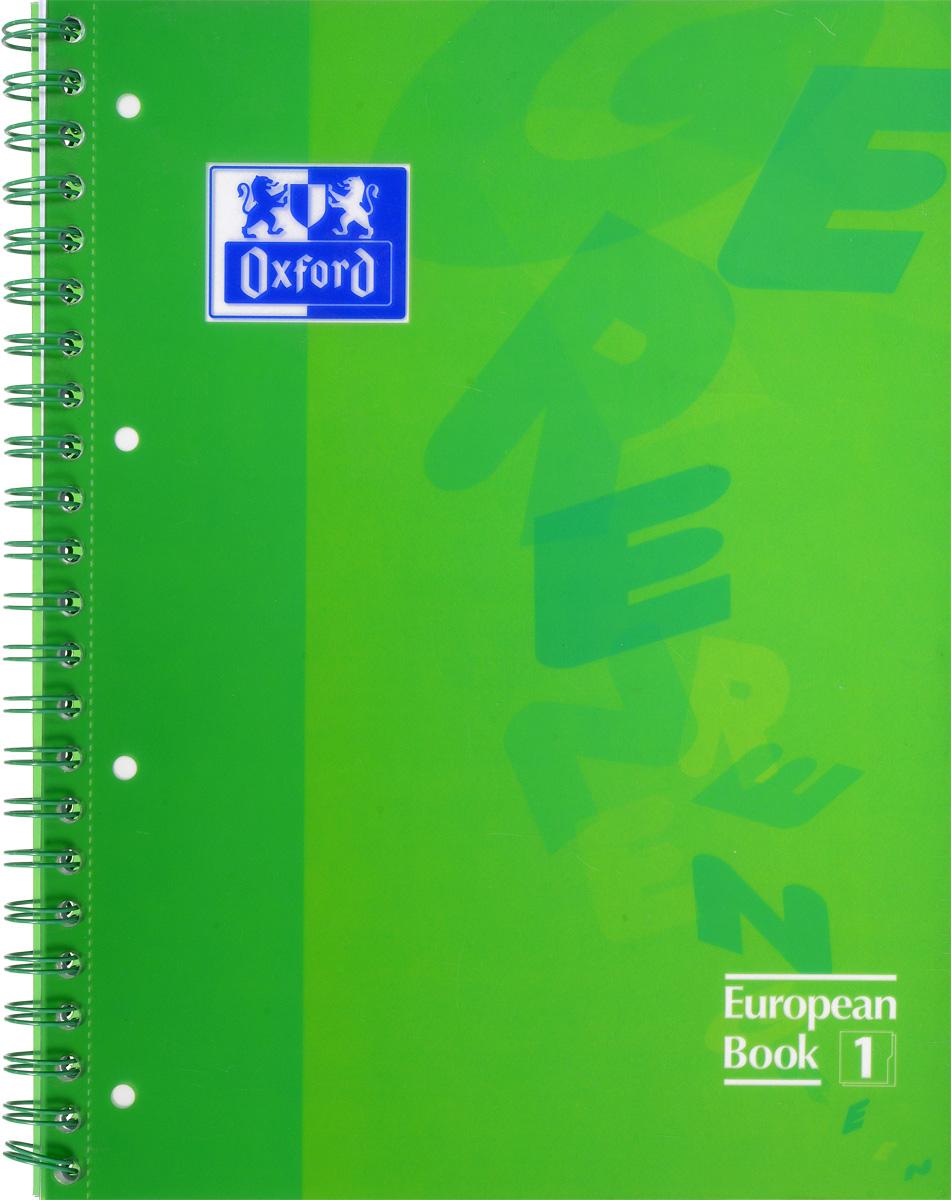 Oxford Тетрадь European Book 80 листов в клетку цвет зеленый893027_зеленыйКрасивая и практичная тетрадь Oxford European Book отлично подойдет для офиса и учебы. Тетрадь формата А4 состоит из 80 белых листов в цветной рамке и с четкой яркой линовкой в клетку. Обложка тетради выполнена из плотного полупрозрачного полипропилена и оформлена изображением английских букв. Двойная спираль надежно удерживает листы. Также тетрадь имеет скругленные углы и пластиковый разделитель на два блока.