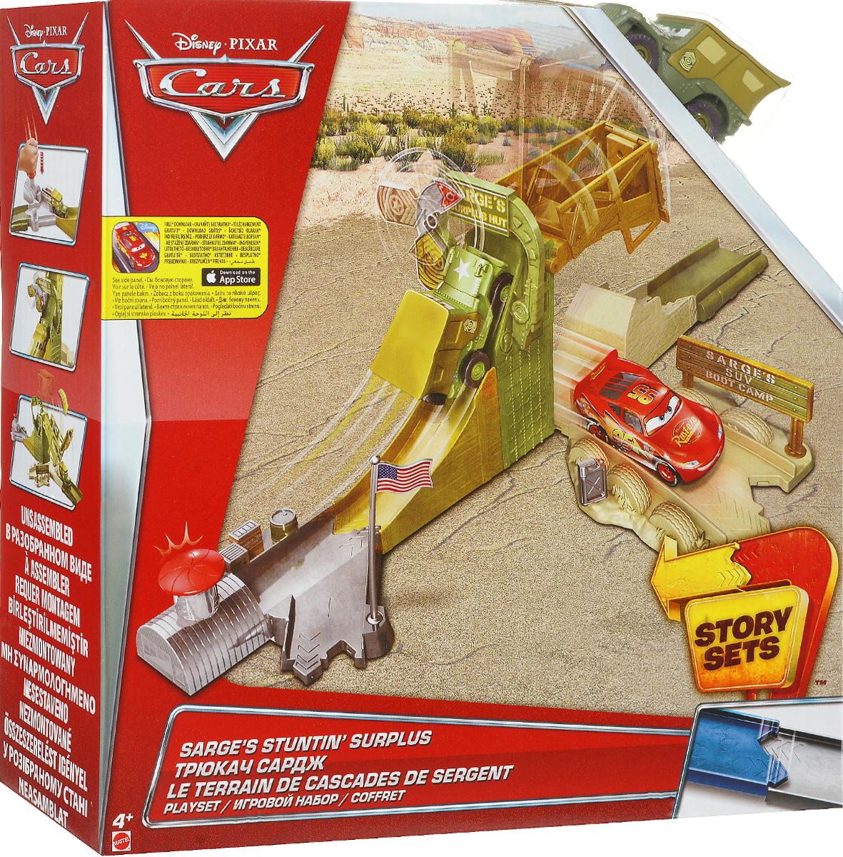 Cars Игрушечный трек Трюкач СарджCDW65_DJD90Игрушечный трек Cars Трюкач Сардж - это набор, который непременно оценят любители мультсериала Тачки. С его помощью вы можете инсценировать у себя в комнате городок Радиатор Спрингс. В комплект входят элементы, из которых можно собрать трек, пусковая установка, а также небольшая гоночная машинка Трюкач Сардж из популярного мультфильма Тачки. Запускать автомобиль можно с нескольких направлений. Особый интерес у ребенка вызовет большой трамплин. Все детали выполнены из прочного качественного пластика, благодаря чему игрушка прослужит долгое время. С таким отличным автотреком ваш ребенок точно не заскучает, ведь он сможет воспроизвести любимые моменты из мультфильма и придумать собственные сюжеты для игр.