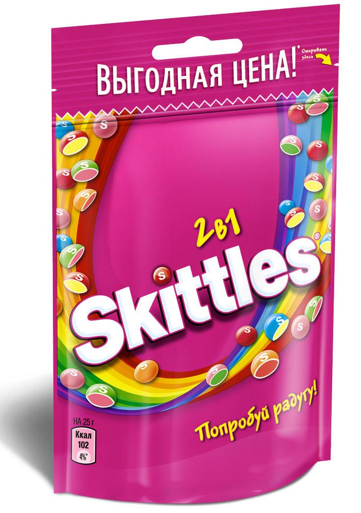 Skittles 2 в 1 драже в сахарной глазури, 100 г