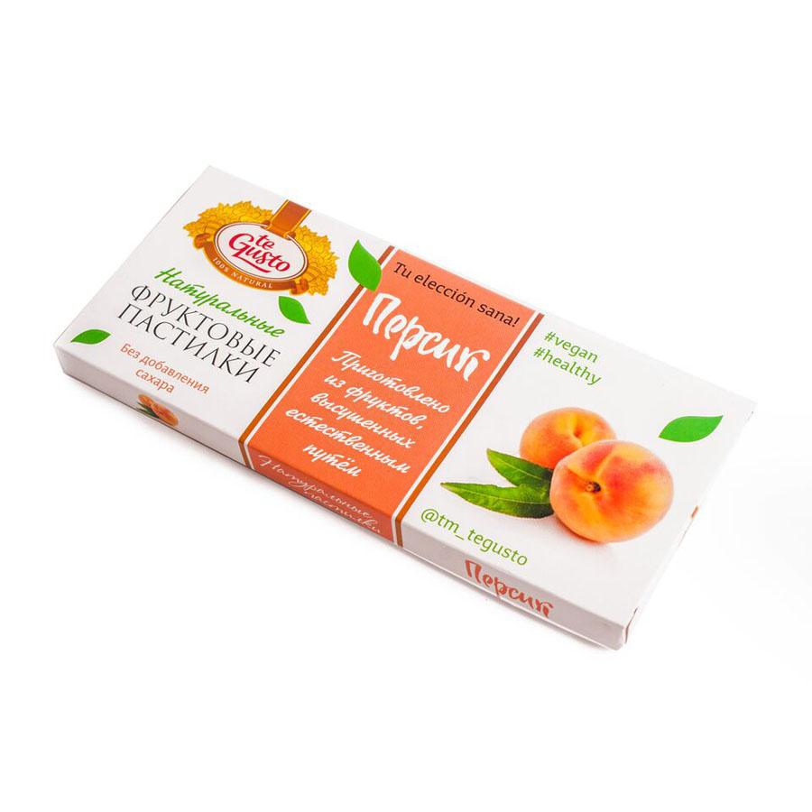 te Gusto Фруктовые пастилки из персика, 40 г4657155301481Фруктовые пастилки te Gusto без ГМО, глютена, сои, сахара, фруктозы, красителей, усилителей вкуса, загустителей. В составе только один ингредиент – плод, выращенный в экологически чистом районе. Особый способ измельчения плодов позволяет сохранить витамины в первозданном виде.Данный продукт создан для людей, ведущих здоровый образ жизни и уделяющих большое внимание своему питанию.Для спортсменов это полезный и питательный перекус, для вегетарианцев – сладость, не содержащая продуктов животного происхождения, для детей – натуральное лакомство, которое единожды попробовав, они предпочитают шоколадкам, и для всех, вне зависимости от возраста и систем питания – здоровый продукт без красителей, консервантов и подсластителей.