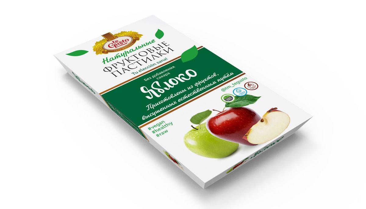 te Gusto Фруктовые пастилки из яблок, 90 г4657155301719Фруктовые пастилки te Gusto без ГМО, глютена, сои, сахара, фруктозы, красителей, усилителей вкуса, загустителей. В составе только один ингредиент – плод, выращенный в экологически чистом районе. Особый способ измельчения плодов позволяет сохранить витамины в первозданном виде.Данный продукт создан для людей, ведущих здоровый образ жизни и уделяющих большое внимание своему питанию.Для спортсменов это полезный и питательный перекус, для вегетарианцев – сладость, не содержащая продуктов животного происхождения, для детей – натуральное лакомство, которое единожды попробовав, они предпочитают шоколадкам, и для всех, вне зависимости от возраста и систем питания – здоровый продукт без красителей, консервантов и подсластителей.