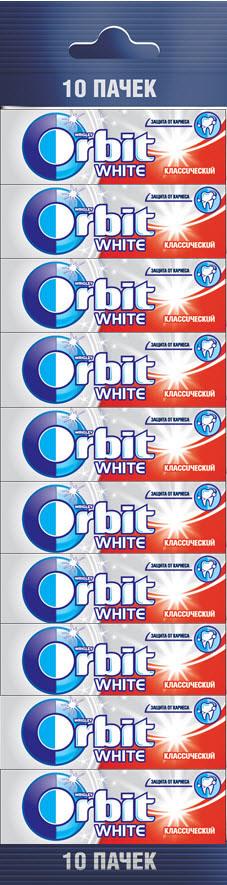Orbit Белоснежный White Классический жевательная резинка 13.6г м/пэк10 пач