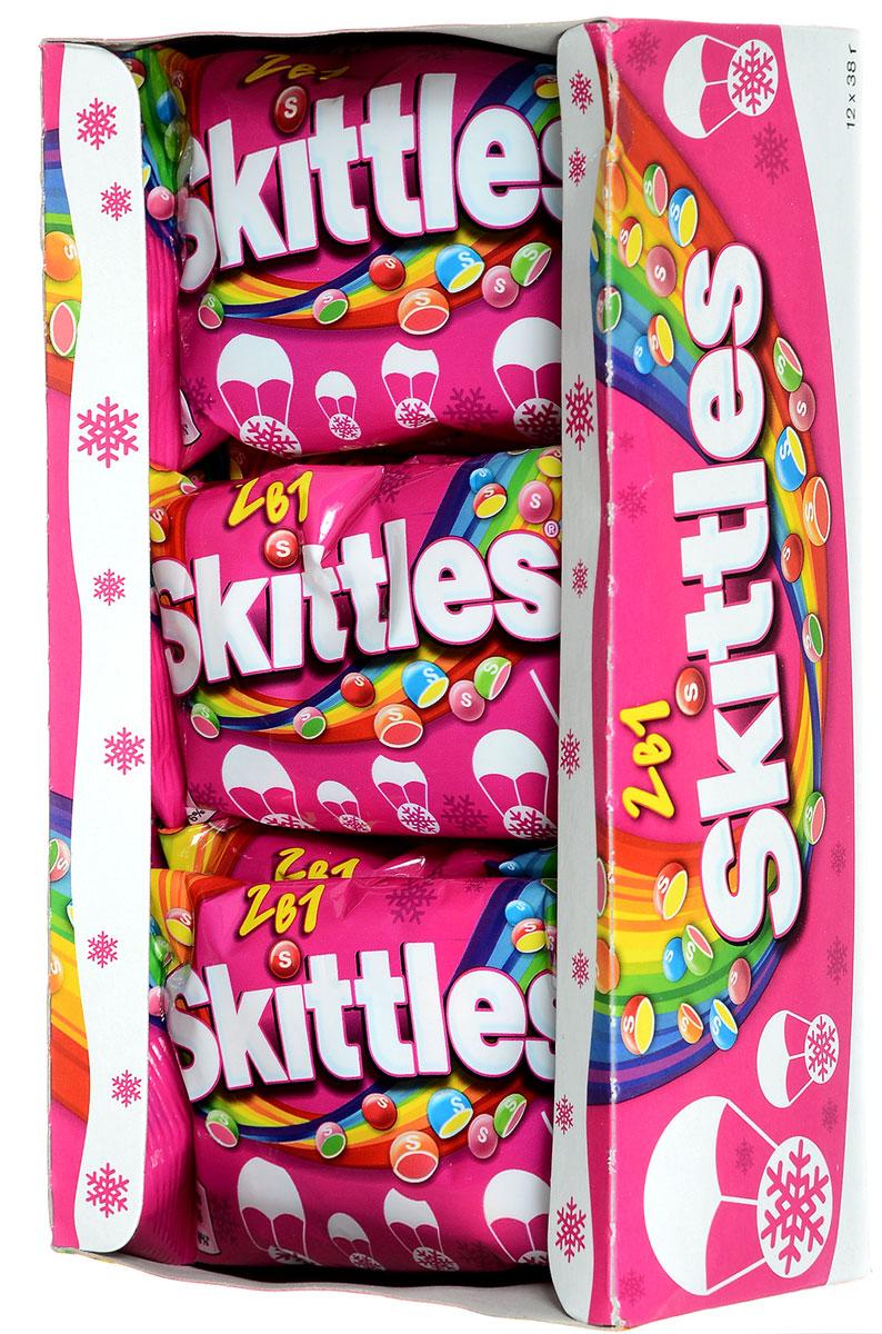 Skittles 2 в 1 драже в сахарной глазури, 12 пачек по 38 г