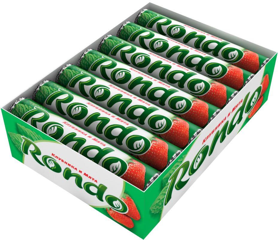 Rondo Клубника и Мята освежающие конфеты, 14 пачек по 30 г4009900481113Мятные конфеты Rondo с ароматом клубники и мяты освежают дыхание и делают день слаще! Уникальный продукт, созданный в 1996 году специально для российских потребителей по-прежнему остается одним из любимых оружий против несвежего дыхания. Свежее дыхание облегчает понимание!