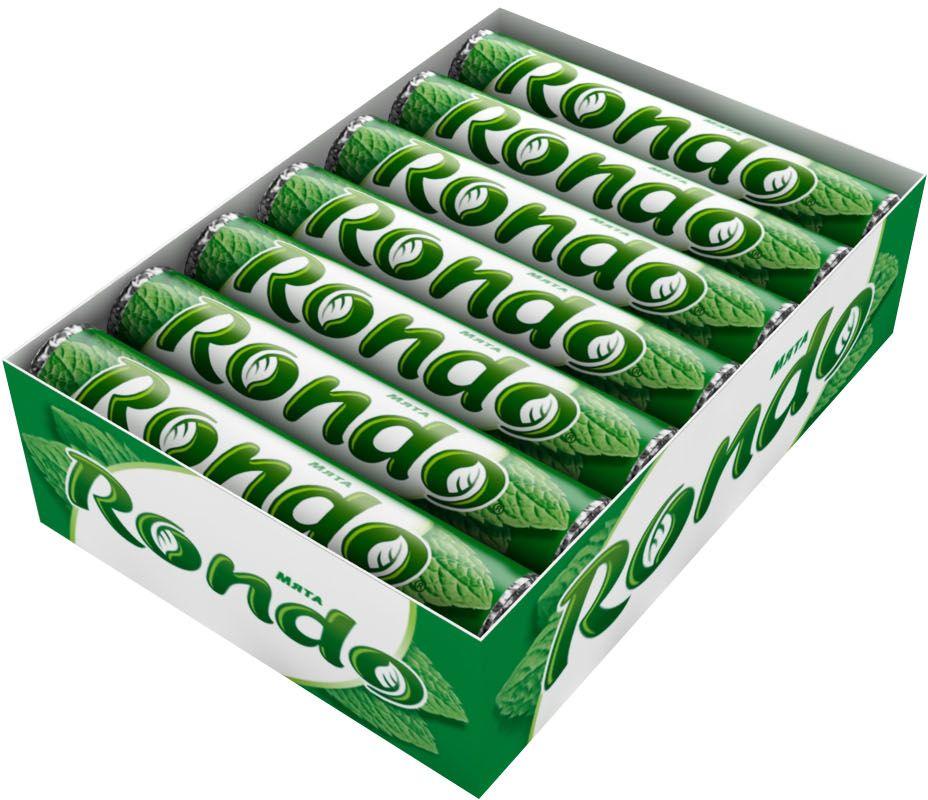Rondo Мята освежающие конфеты, 14 пачек по 30 г5000159372824Мятные конфеты Rondo с ароматом мяты освежают дыхание и делают день слаще! Уникальный продукт, созданный в 1996 году специально для российских потребителей по-прежнему остается одним из любимых оружий против несвежего дыхания. Свежее дыхание облегчает понимание!