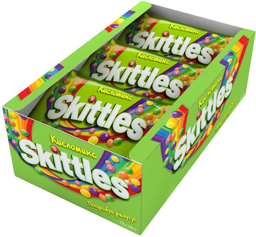 Жевательные конфеты Skittles c разноцветной глазурью предлагают радугу кислых фруктовых вкусов в каждой упаковке! Конфеты с ароматами малины, ананаса, мандарина, вишни и яблока: заразись радугой, попробуй радугу!