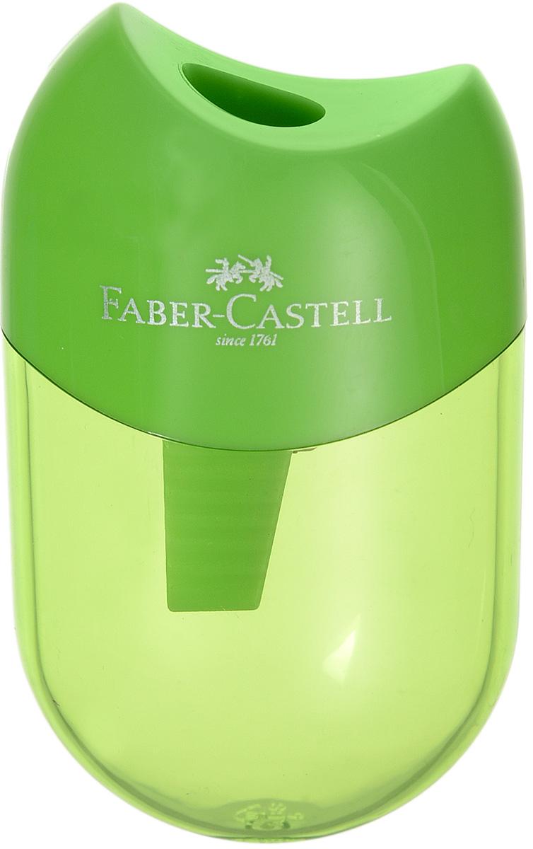 Faber-Castell Мини-точилка с контейнером цвет зеленый183512_зеленыйМини-точилка Faber-Castell выполнена из прочного пластика. В точилке имеется одно отверстие для классических, трехгранных, простых и цветных карандашей. Эргономичная форма контейнера обеспечивает стабильное положение кисти. Карандаш затачивается легко и аккуратно, а опилки после заточки остаются в специальном контейнере повышенной вместимости.