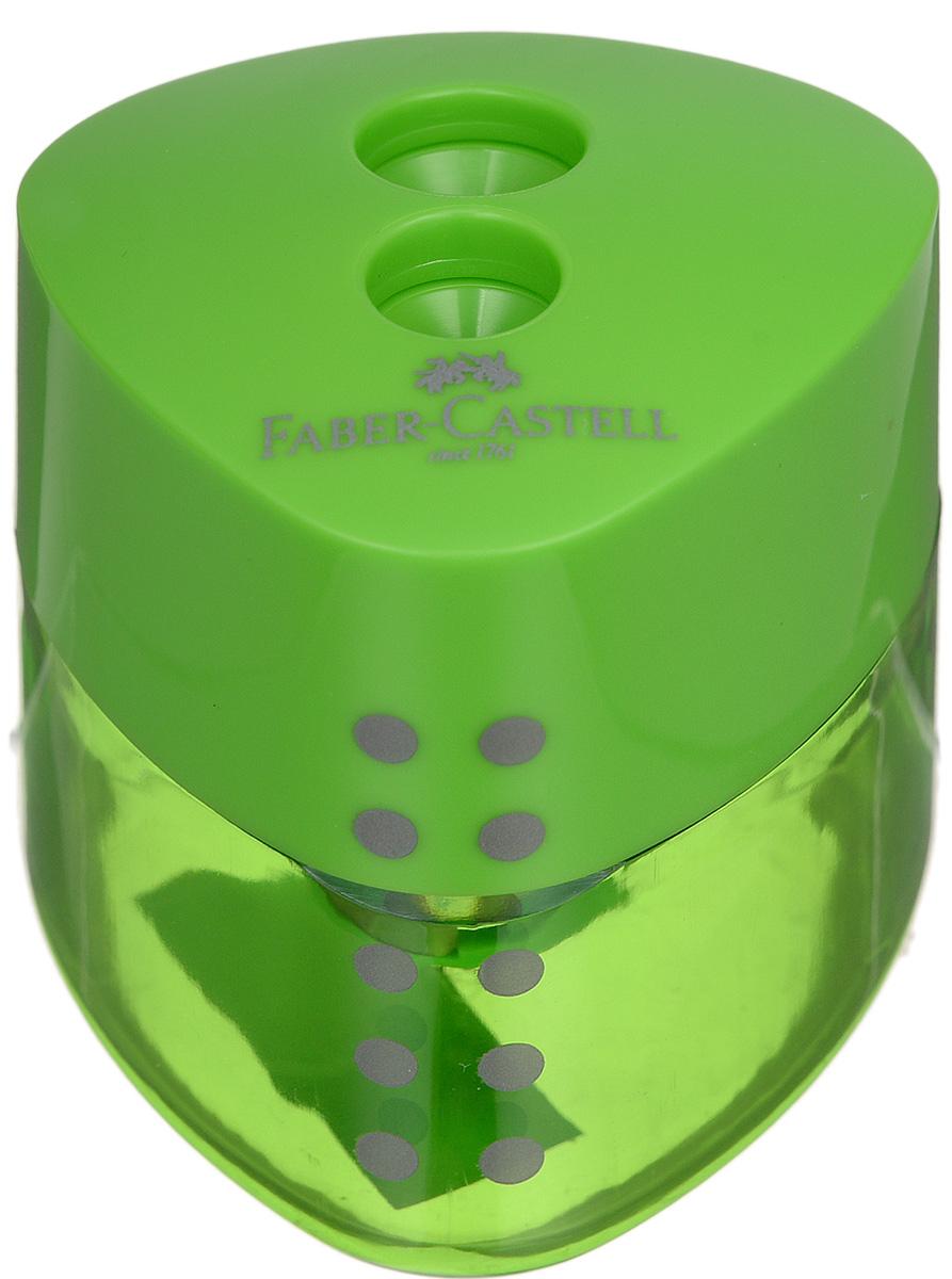 Faber-Castell Точилка Grip цвет зеленый183102_зеленыйТочилка с автоматическим закрытием Faber-Castell Grip предназначена для затачивания разных типов карандашей. Прозрачный контейнер позволяет визуально определить уровень заполнения и вовремя произвести очистку. Острые стальные лезвия на двух отделениях обеспечивают высококачественную и точную заточку карандашей.