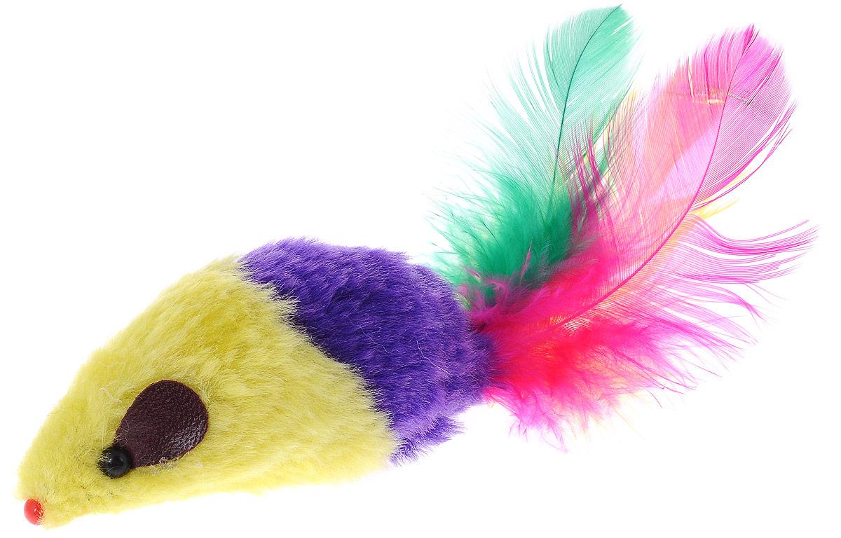 Игрушка для кошек Каскад Мышь, с перьями, цвет: желтый, фиолетовый, длина 8 см27754634_желтый, фиолнтовыйИгрушка для кошек Каскад Мышь изготовлена из искусственного меха, пластика и пера. Такая игрушка порадует вашего любимца, а вам доставит массу приятных эмоций, ведь наблюдать за игрой всегда интересно и приятно. Длина игрушки: 8 см. Длина игрушки с учетом перьев: 15 см.