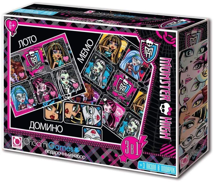 Подарочный набор настольных игр Monster High, 3 в 1: лото, домино, мемо00225Набор настольных игр Monster High создан по мотивам одноименного популярного сериала и содержит 3 игры (лото, домино и мемори), а также 3 мини-пазла (18 элементов и 2х24 элемента). Для лото вам понадобятся 6 карт лото и 30 карточек с картинками. Каждому участнику выдается большая карта с пятью картинками, каждую из которых надо закрыть карточкой. Игроки по очереди переворачивают карточки, и если находят подходящую, забирают ее себе и выкладывают лицом вверх на такую же картинку на своей карте. Выигрывает тот, кто первым заполнит карточками свою карту. Домино содержит 28 карточек. Положите все карточки на стол картинкой вниз и перемешайте. Определите, кто будет ходить первым. Для этого поочередно вытягивайте по одной карточке. Первый, кому выпадет дубль (фишка с одинаковыми картинками), начнет игру. Первый игрок выставляет любую карточку (желательно дубль). Следующий участник подстраивает к ней карточку с такой же картинкой (если необходимо, вы...