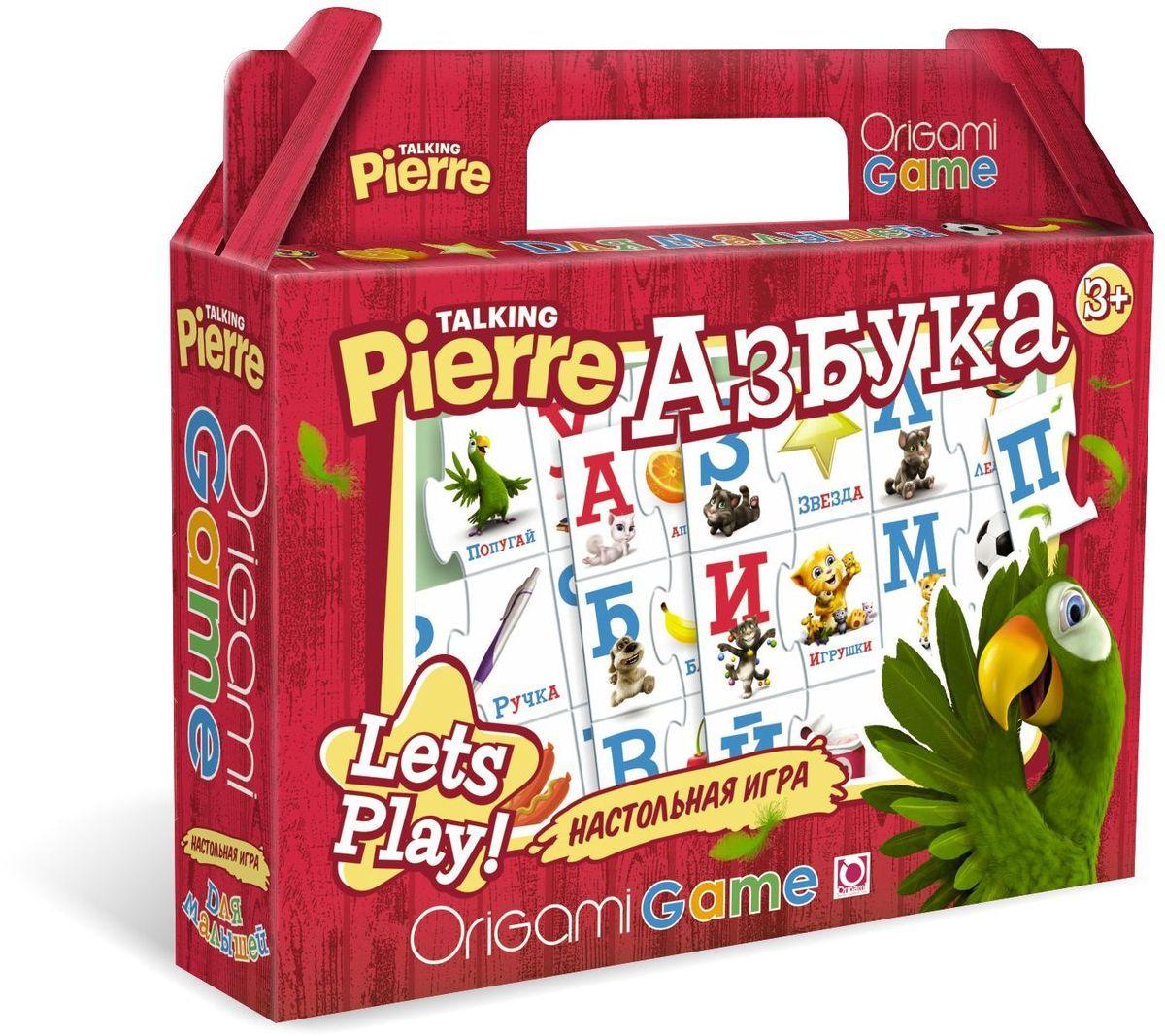 Оригами Обучающая игра Азбука 0098100981Увлекательная настольная игра «Азбука» познакомит ребенка с буквами русского алфавита. В набор входят парные карточки: буква и предмет, название которого начинается с этой буквы. Гласные буквы красного цвета, согласные - синего.Все карточки снабжены пазловыми замками, поэтому ребенок не сможет совершить ошибку в решении и совместить неподходящие друг другу детали.Размер пазла 34х23.Рекомендуемый возраст 3+