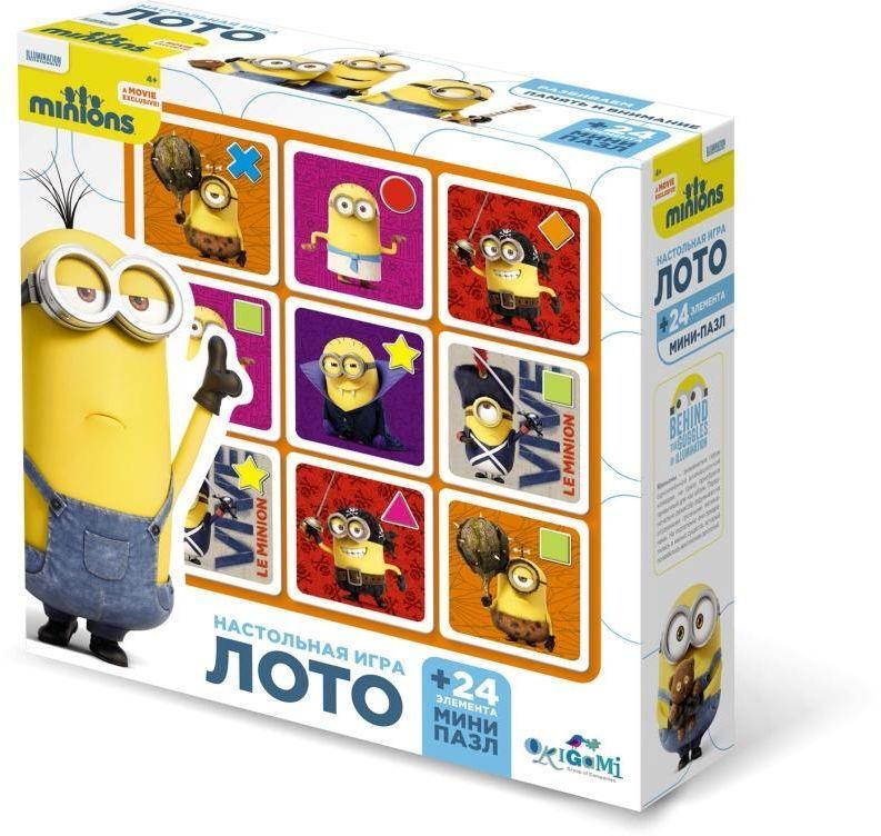 Оригами Комплект обучающих игр лото и пазл Миньоны01709Игра Лото познакомит вас с увлекательными приключениями забавных человечков - Миньонов. Харизматичные герои мультфильмов «Гадкий Я» и «Миньоны» никого не оставят равнодушными. Лото позволяет моделировать множество различных игровых ситуаций. В процессе игры развивается логическое мышление, наблюдательность, память, совершенствуется мелкая моторика рук.