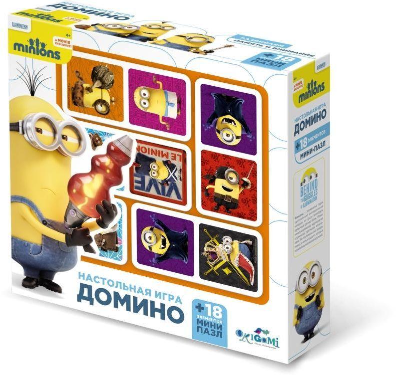 Оригами Комплект обучающих игр домино и пазл Миньоны01711Настольная игра Домино - известная и очень интересная игра, которая учит ребёнка думать логически и анализировать игровую ситуацию. Игра направлена на развитие внимания, образного восприятия и зрительной памяти. А герои мультфильма «Миньоны» разнообразят игровой процесс, сделают игру яркой и занимательной.