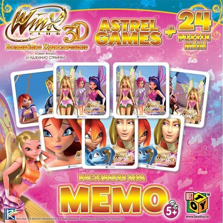 Оригами Комплект обучающих игр Winx Арт(О) 11162Арт(О) 11162Настольная игра Мемо - это очень увлекательная игра для тренировки памяти у малышей. Она является классической игрой на запоминание, и направлена на развитие логического мышления, внимания, зрительной памяти, наблюдательности и образного восприятия. Размер пазла 15х9,8. Рекомендованный возраст 4+