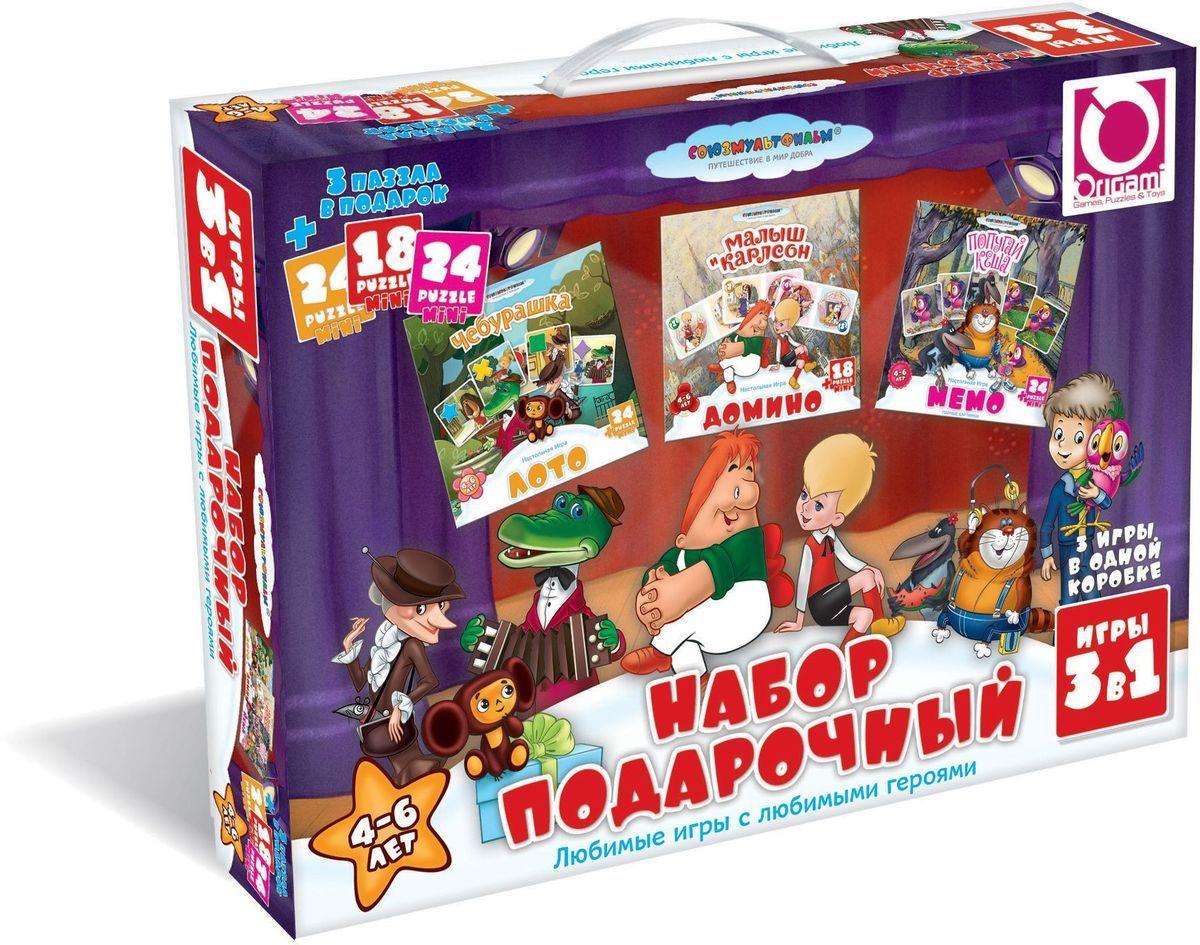 Оригами Комплект обучающих игр Арт(О) 11700Арт(О) 11700Подарочный набор: Лото, Мемо, Домино. 3 игры в одной коробке. Отличный подарок непоседливому ребёнку и возможность тренировать усидчивость в форме нескучных игр . Любимые игры с любимыми героями мультфильмов. Размер пазлов 15,3х7,8, 15х9,8, 13х18 см. Рекомендованный возраст 4+
