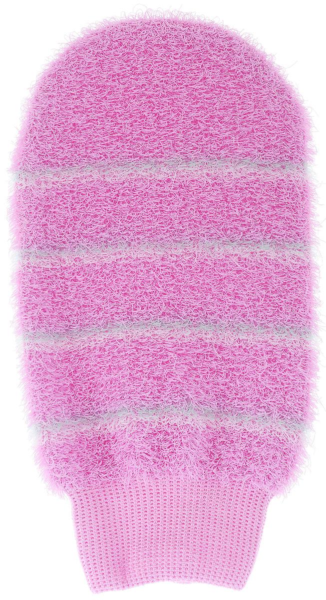 Мочалка-рукавица массажная Riffi, цвет: розовый804_розовыйМочалка-рукавица Riffi идеально подходит для интенсивного массажа и пилинга. Цветные полоски из более жесткого материала хорошо освобождают кожу от ороговелостей и отмерших клеток, делая ее гладкой и упругой. Интенсивный слегка пощипывающий массаж тела с применением мочалки Riffi стимулирует кровообращение, активирует кровоснабжение и улучшает общее самочувствие, борется с болями и спазмами в мышцах. В результате у вас мягкая, гладкая и чистая кожа, мочалка помогает бороться с целлюлитом, предотвращает появление огрубевшей кожи и вросших волос. Riffi приносит приятное расслабление всему организму. Варежка необычайно гигиенична и долговечна.
