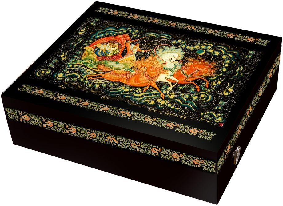 Коробка подарочная Правила Успеха Тройка, музыкальная4610009214337Описание дизайна: Художественная роспись - Палех. Пишется Палех яркими темперными красками, густыми и плотными мазками, либо тонкими и полупрозрачными. Для начала на изделие наносится чёрная краска, что в палехе является фоном для рисунка. Чтобы нарисовать одну картину уходит очень много времени, не один месяц, это очень сложный и трудоёмким процесс. В результате получается картина сказочной красоты, которые потом мы используем в своей упаковке. Параметры внешние: 26 см ширина х 22 см высота х 7,5 см глубина Параметры внутренние: 20,5 см ширина х 18,5 см высота х 7,5 см глубина Отделка: Тиснение золотой фольгой Покрытие: Глянцевое Дополнительные опции: Музыкальный ме ханический механизм. Крутишь и музыка играет! На оборотной стороне крышки - стихи! Возможность изменения размера, дизайна, внесение дополнительных изменений – от 100 шт.